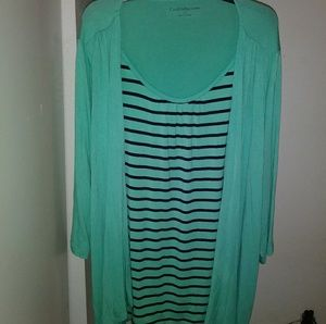 NWOT Croft & Barrow Green striped women's blouse